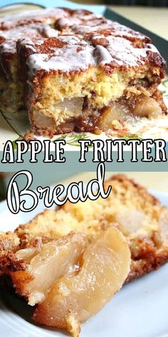 Sweet, buttery quick bread is layered with cinnamon topped apples in this easy to make recipe. It can be breakfast or a dessert -- your choice!  #recipe #country #easy #cinnamon #amish Apple Fritter Bread, Apple Bread, Apple Fritters, Healthy Apple Desserts, Just Desserts, Delicious Desserts, Quick Bread Recipes, Apple Recipes, Fall Recipes