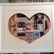 "This is a giclee print of my little sewn heart - A night before Christmas.  Printed on high quality museum paper the heart measures approx. 12"" x 14"" and fits a ready made frame. The print comes bubble wrapped to fit in a frame approx. 20&quo..."