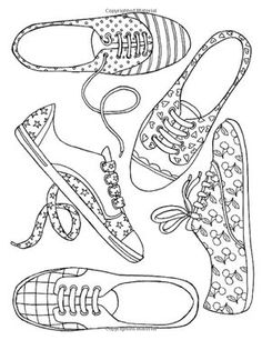 Girl Shoes --> If you're looking for the top coloring books and supplies including colored pencils, gel pens, watercolors and drawing markers, go to our website at Color. Colouring Pics, Coloring Book Pages, Printable Coloring Pages, Coloring For Kids, Coloring Sheets, Digi Stamps, Tampons, Copics, Colorful Drawings