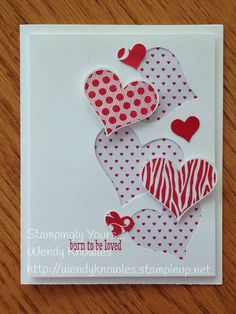 "This card was ""born to be loved""! Groovy Love, Sweetheart Punch, Mini Treat Bag Dies (middle), Itty Bitty Accents Punch Pack, Stacked with Love DSP pack.:"