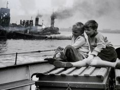 """""""Richard Branker and Kenneth Cooper who in 1961 spent a summer holiday riding the Woolwich Ferry. They were aged 7 and 9."""""""