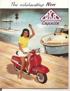 Vintage DKR Capella Scooter Colour Advertising Brochure Poster 1960's