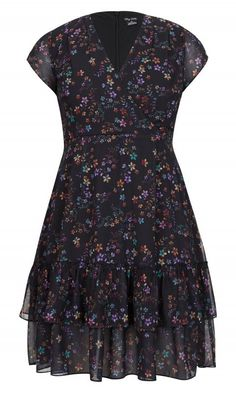 ec384695b6d Trendy Plus Size Printed Dreamy Floral Fit   Flare Dress in 2019 ...