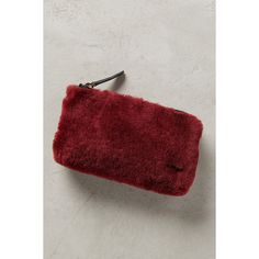 Joy Gryson Finn Shearling Pouch ($78) ❤ liked on Polyvore featuring bags, handbags, clutches, wine, red pouch, zipper purse, joy gryson, wine handbag and wine pouch