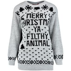 Eva Merry Christmas Ya Filthy Animal Jumper ($23) ❤ liked on Polyvore featuring tops, sweaters, christmas tops, animal tops, christmas jumper, jumpers sweaters and christmas sweater
