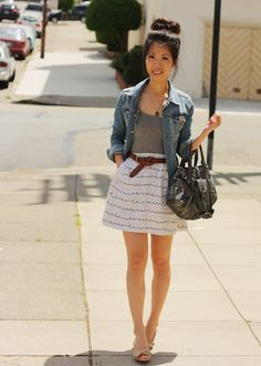 Navy blue skirt with gray shirt and white skirt. Gives off a navy summer feel