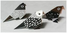 Three nicely packed origami Birds with black-white graphic patterns, folded by hand. Patterns and colour-combinations designed by Birdtoldme and digital printed on high quality Munken Pure Paper. Diy Origami, Paper Crafts Origami, Useful Origami, Paper Crafting, Origami Birds, Bird Patterns, Print Patterns, Graphic Patterns, Pattern Print
