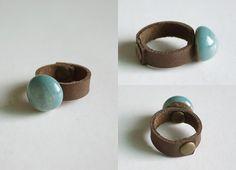 Handmade genuine leather ring OOAK brown leather by Nicestreet2013