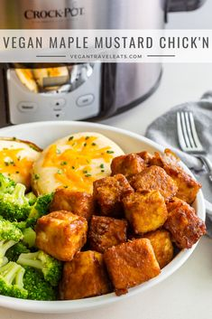 Vegan Slow Cooker Maple Mustard Chick'n is an easy and delicious meal that everyone will love! by the 7 QT Crock-Pot Easy Clean Slow Cooker available at Target Cooking For Two, Cooking Tips, Easy Cooking, Italian Cooking, Cooking Games, Slow Cooking, Cooking Light, Vegan Slow Cooker, Vegan Comfort Food