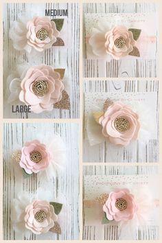 Durazno medio hielo fieltro diadema flor  melocotón y oro