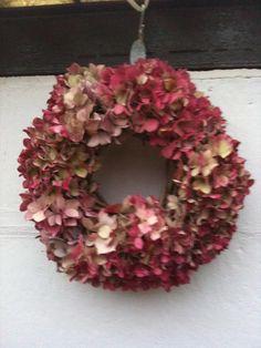 Homemade hydrangea wreath