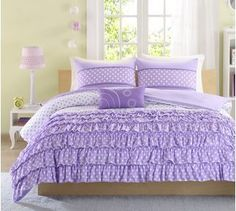 Mizone Girls 4-Piece Comforter Set - Purple. Full/Twin Girls Comforter Sets. Full or Twin Comforter Set For Teens. Gorgeous Purple Girls Bedding Sets. Your Girl Will Adore This Ruffled Bedding Set for Her Room. Includes Full Comforter or Twin. (Twin/TXL) Mi-Zone http://www.amazon.com/dp/B00M9YGK6I/ref=cm_sw_r_pi_dp_EaAoub0ZYRS4J