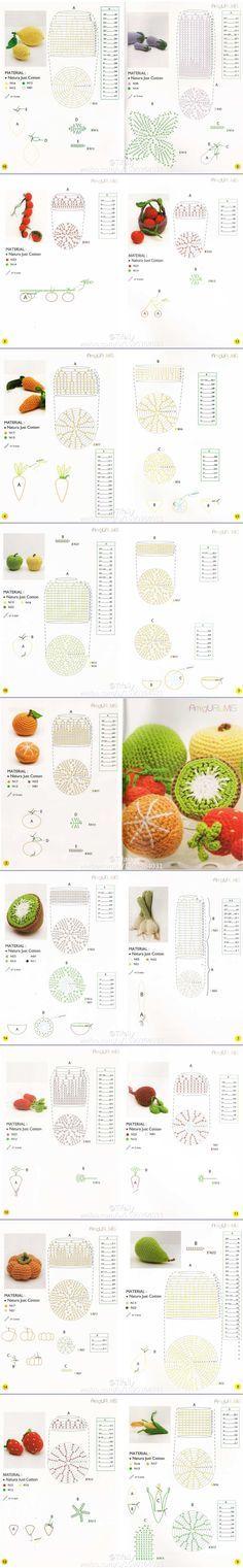 #Amigurumi #Fruits & #Vegetables - Chart #crochet