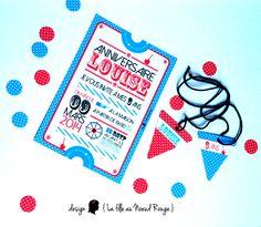 Invitation anniversaire fille garcon thème fête foraine sous forme de ticket d'entrée Rouge, bleu et pois blanc Fanion et drapeaux Décliné en décoration pour candy bar et sweet table www.lafilleaunoeudrouge.fr