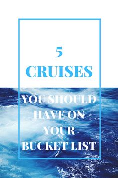 As a cruise addict extraordinaire, you know I have a bucket list of cruises that I must do before I get on my final cruise ship in the sky (of course I'm going to cruise heaven.  Where'd ya think I was going?).  Some of these I'm sure I'll get to and some may end up remaining unchecked.  Here's my list of cruises I think everyone should be salivating over.   http://yourcruisegirl.com/2018/01/15/5-cruises-you-should-have-on-your-bucket-list/