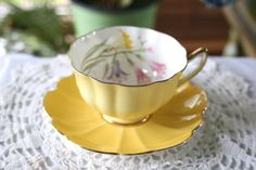 Vintage Shelley Freesia Tea Cup and Saucer by treasuresfromtheuk