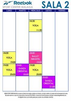 Horario de Actividades de Sala 2. A partir del 26 de Octubre de 2015.