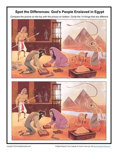 God's People Enslaved in Egypt Spot the Differences - Children's Bible Activities Sunday School Activities, Bible Activities, Sunday School Lessons, Easter Activities, Activities For Kids, Kids Connection, Israel History, Children's Church Crafts, Moise