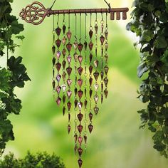 Key and Cascading Hearts Windchime ----------- CARRILLON DE VIENTO  cascada de  corazones