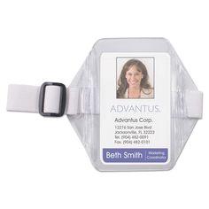 Advantus Vertical Arm Badge Holder 2 1/2 x 3 1/2 Clear/ 12 per Box