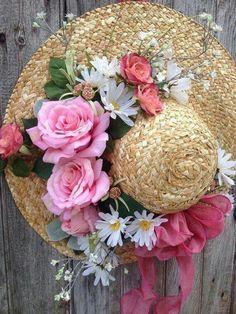 88a4b188 Front Door Decor, Wreaths For Front Door, Hat Crafts, Spring Garden, Garden