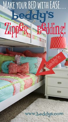 This bedding is perfect for bunk beds! #zipperbedding Brilliant!! Bunk Rooms, Bunk Beds, Condo, Boy Room, Kids Room, Zipper Bedding, Mind Blown, Matilda, Shared Rooms