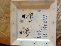(Samantha 4 months) Let it Snow Snowmen footprints! So adorable! Put Swarovski crystals in the center of each snowflake on the border for some extra bling!