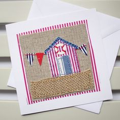 Beach Hut Hand Sewn Blank Card by PaperSoupCards on Etsy