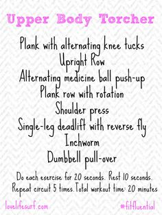 This upper body HIIT workout works the major upper body muscle groups - arms, shoulders and upper back - and will strengthen and tone your arms. Best part? It only takes 20 minutes.