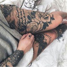 15 Ideas For Tattoo Frauen Bein Spruch Tattoo Bein Frau, Tattoos Bein, Full Leg Tattoos, Dope Tattoos, Full Sleeve Tattoos, Sleeve Tattoos For Women, Trendy Tattoos, Popular Tattoos, Body Art Tattoos