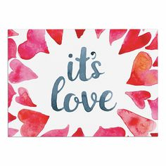 KESS InHouse KESS Original 'It's Love' Red Pink Dog Place Mat, 13' x 18' -- Hurry! Check out this great product : Dog food container