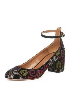 Alix+Embroidered+Block-Heel+Pump+by+Aquazzura+at+Bergdorf+Goodman.