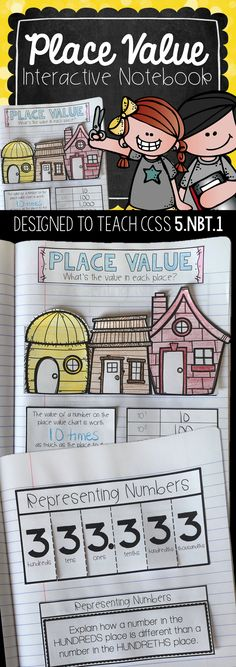 5th Grade Interactive Math Notebook: These Common Core Aligned Interactive Notebooks are designed to give a visual cues and practice problems to teach the names and values of whole numbers and decimals in fifth grade.
