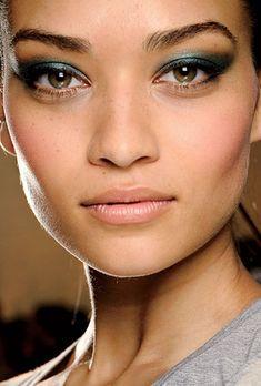 wedding makeup idea - blue-green eyeshadow from Jason Wu runway