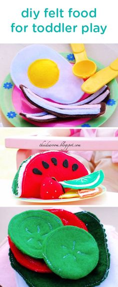 This adorable DIY felt food (with a step-by step, how-to tutorial) is an easy sewing project you can do to make playtime and learning more fun for your little ones. These soft felt toys may help you teach your baby about different foods and colors, and are the perfect accessory to your toddler's play kitchen!
