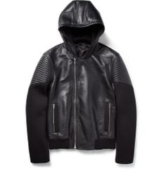 Givenchy - Hooded Leather and Neoprene Jacket | MR PORTER