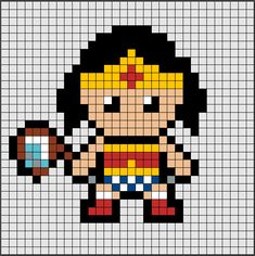 Hama Beads Midi pattern from Wonder Woman If you want Perler Bead Disney, Perler Bead Art, Perler Beads, Hama Beads Design, Hama Beads Patterns, Pixel Pattern, Pattern Art, Pixel Art Super Heros, Cross Stitch Designs