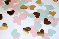 Heart Confetti Mint Blush Pink and Gold Heart by TooCuteWreath, $3.75