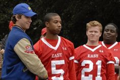 "Jeremy Sumpter as J.D. McCoy, Michael B. Jordan as Vince Howard and Jesse Plemons as Landry Clarke on Friday Night Lights from the episode ""Thanksgiving""."
