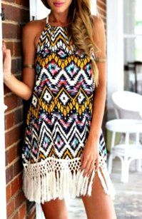 Romwe short dress Geometric multicolor Halter Fringe Tassel on Tradesy