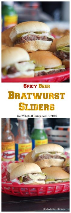 Spicy Beer Bratwurst Sliders combines three classic tailgating foods: Beer, Bratwurst, and Hamburgers in a little slider that packs a nice spicy kick. #gameday #Sliders #Tailgate #Appetizers #Football via @dadwhats4dinner