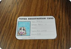 "Very cute lesson for voting! Voter registration cards, voting ballots, students create a small sign to get others to vote for the ""best book"" according to them, voting chart and ending with a writing activity!"