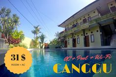 Looking for a cheap, nice, clean rooms with AC in Canggu and even with a swimming pool? I have something for you.