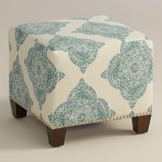 Featuring a medallion motif in soft aqua, our plush, custom-made ottoman is handcrafted in the U.S.A. with cotton blend upholstery and nail trim. Pair two ottomans at the foot of a bed for dramatic seating and coordinate with our bed or headboard in the same custom fabric for a pulled together look.