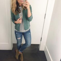 """Gap Style on Instagram: """"Now all I need to complete this outfit is some cooler weather!! ✌️Stripe fluid tunic ($22), 1969 indigo destructed girlfriend jeans ($79), Leather Chelsea boots ($89), Tencel Jacket ($88)"""""""