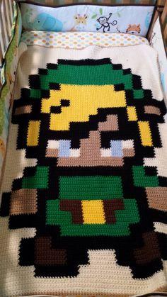#LegendofZelda Pixel Link Crochet Blanket