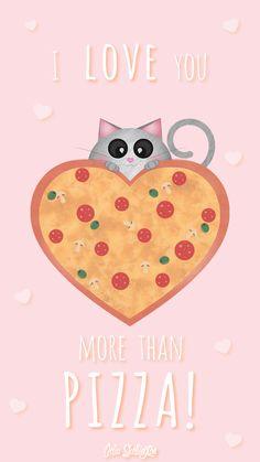 Pink Girl Pastel Pizza Love iPhone Lock Wallpaper @PanPins