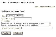 Lista de Presentes | Noivas On Line