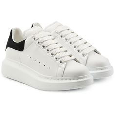 Alexander McQueen Leather Sneakers (€395) ❤ liked on Polyvore featuring shoes, sneakers, sko, white, white trainers, leather shoes, leather platform shoes, alexander mcqueen sneakers and chunky shoes