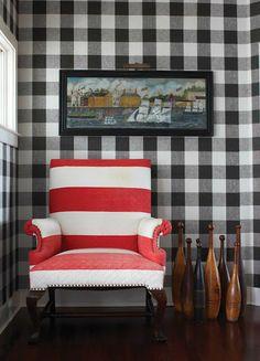 Red White Stripes Black Gingham Wallpaper Plaid